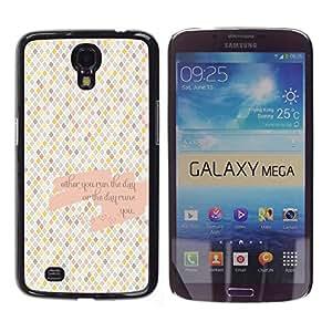 Qstar Arte & diseño plástico duro Fundas Cover Cubre Hard Case Cover para Samsung Galaxy Mega 6.3 / I9200 / SGH-i527 ( Checkered Pattern Tiles Love Quote)
