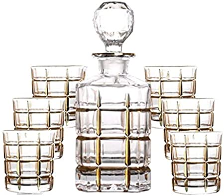 ZCXBHD 7 Piezas Conjunto Whisky Licorera Sin Plomo Cristal Vaso Lentes Vino Tinto Botella Dibujando Linea Dorada Jarra Vino Regalo Casa 750ml / 250ml