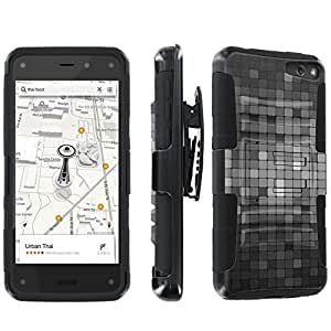 SkinGuardz Amazon Fire Phone Heavy Duty Armor Combat Kickstand Case - (Mosaic Grey Black)