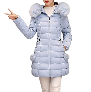 54f9259e440cc Manteau Chaud Doudoune Femme Zippé Parka Veste Capuche Fourrure Faux Long  Hiver Jacket Blouson Coton Casual