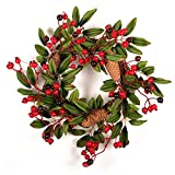 trraple christmas wreath, christmas rattan garland with artificial pinecone and red berries, winter