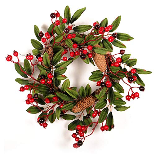 TRIEtree Decorative Christmas Wreath for Front Door Wall Windows Hallway Xmas Decoration Artificial Pine Cones Berries Wreath 11.8 Inch