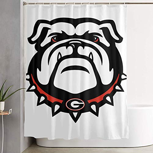 LETEPRO 60 X 72 Inch Georgia Bulldogs Shower Curtain Set, Polyester Fabric Bathroom Bath Curtain Set with Hooks
