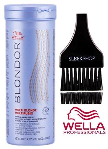 Wella BLONDOR MULTI BLONDE Dust-Free POWDER LIGHTENER for Multiple Clear Blonde Results, Tri-Lightening Complex (with Sleek Tint Applicator Brush) (14.1 oz/400 g - TUB) ()