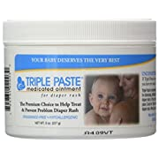 Triple Paste Medicated Ointment for Diaper Rash, Fragrance Free, Hypoallergenic,8 oz