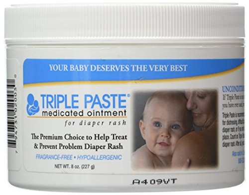 Diaper Cream Fragrance - Triple Paste Medicated Ointment for Diaper Rash, Fragrance Free, Hypoallergenic,8 oz