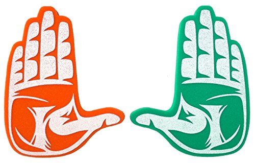 Root Sportswear University of Miami Hurricanes The U Hand Sign Foam Hands/Foam Finger (Hurricanes Sign Miami)