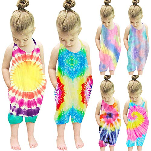 Noustyle Baby Girls Tie Dye Bodysuit Kids Cute Backless Harem Strap Romper Jumpsuit Pants Overalls