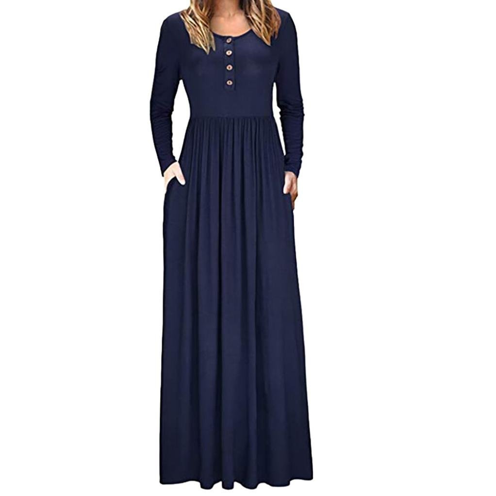 Auwer Clearance! Women's Summer Solid Racerback Loose Plain Maxi Dresses Casual Long Dresses with Pockets