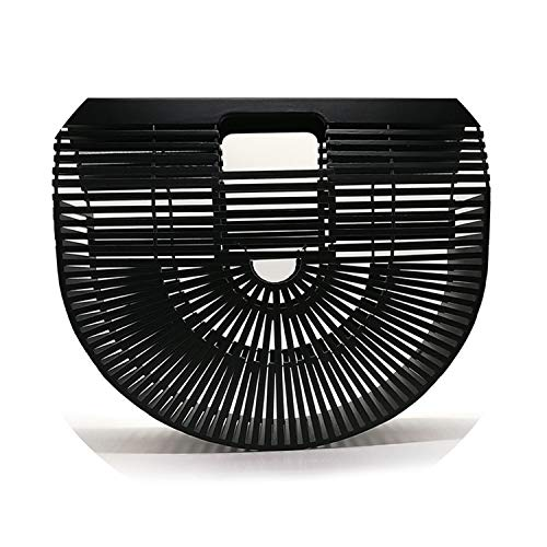 Bamboo Handbag Purses And Handbags Wooden Clutch Luxury Designer Women Bag Summer Beach Bags Hollow Out Casual Bamboo Purses,black big,China