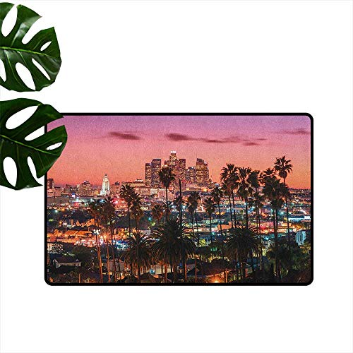 RenteriaDecor United States,Office Floor mats Vibrant Sunset Twilight Scenery Los Angeles Famous Downtown with Palm Trees 24