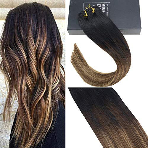 Sunny 14inch Balayage Clip in Remy Human Hair Extensions Black Fading to Dark Brown Highlight Caramel Blonde Silky Straight Full Head for Beautiful Hairstyle 7pcs/120gram