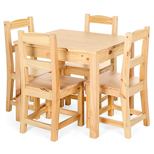 Best Choice Products 5-Piece Kids Toddlers Multipurpose Wooden Activity Table Furniture Set for Nursery, Bedroom, Play Room, Living Room, Classroom w/ 4 Chairs - Natural