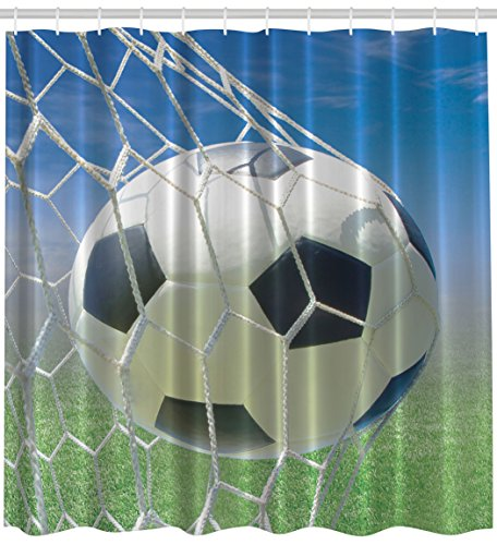 Sports Decor by Ambesonne, Soccer Goal Net Football Games Photo Design Field Grass Sky Ball for Teens and Kids Fabric Shower Curtain, 69x70 Inches, Black White Blue Green