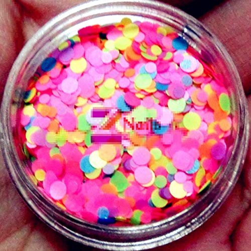 Solvent Resistant Neon Matte Nail Glitter Mix - Pink Blue Green Purple Orange Yellow - 1mm 2mm Round Nail Art Accesories (Neon Matte - Pink Mix)