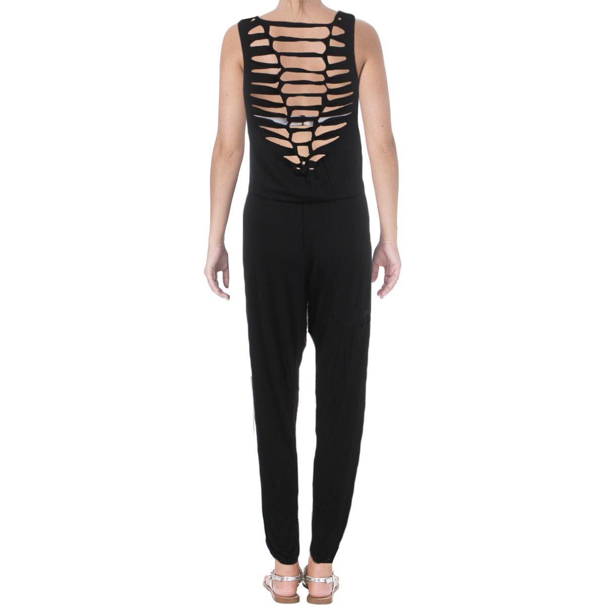 b433c214a8717 Becca by Rebecca Virtue Womens Twist and Turns Jumpsuit Swim Cover-Up Black  L at Amazon Women s Clothing store