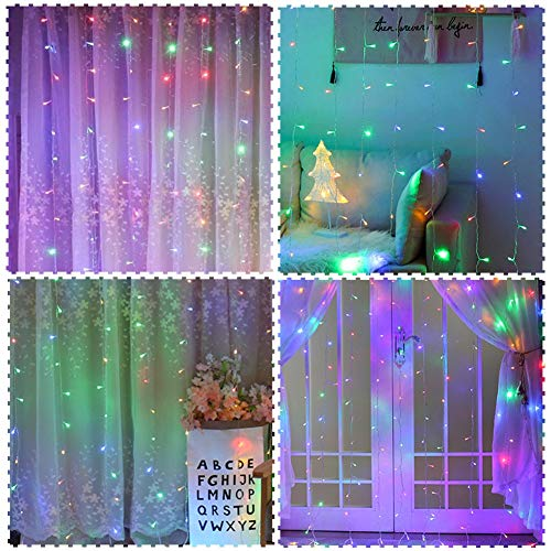 (Twinkle Star 300 LED Window Curtain String Light for Chritmas Wedding Party Home Garden Bedroom Outdoor Indoor Decoration, Multicolor)