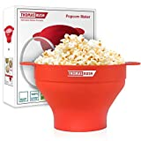 Microwave Popcorn Maker - Microwave Popcorn Popper for Home - Collapsible Silicone Bowl - Red