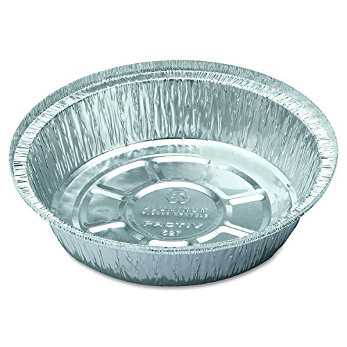 Pactiv Y52725 Hemmed-Edge Food Container Bases, Aluminum/White, 7 Dia x 1 3/4h (Case of 250)