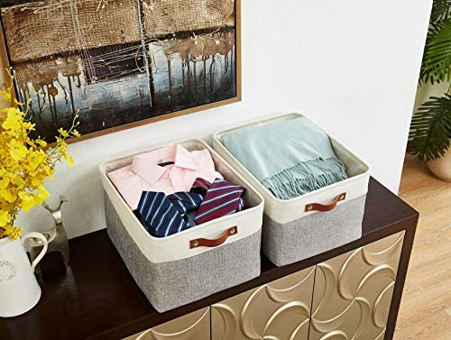 51PUUXSzQ9L. AC - DECOMOMO Foldable Storage Bin | Collapsible Sturdy Cationic Fabric Storage Basket Cube W/Handles For Organizing Shelf Nursery Home Closet (Grey And White, Extra Large - 15.8 X 12.5 X 10-3 Pack)