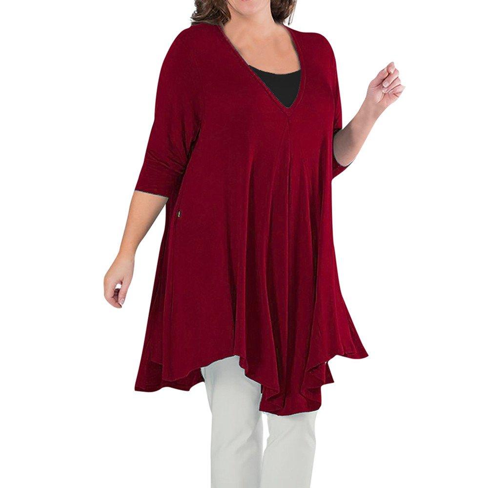 Alixyz Plus Size Women's V Neck Soild Long Sleeve Tunic Top Casual Loose Blouse T-Shirt (XL, Red)