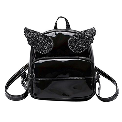 sales Girls Leather Girls Backpack Shoulder Clearance ADESHOP Satchel Bag School Bag Solid Bag Pink Squins Black Double pfYI6wRIq