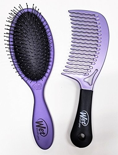 Price comparison product image Wet Brush Pro Detangle Hair Brush, Metallic Purple & Comb Duo