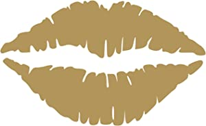 Kiss Wall Decal Sticker - Kissing Lips Decoration Mural - Decal Stickers and Mural for Kids Boys Girls Room and Bedroom. Kiss Gold Wall Art for Home Decor and Decoration - Silhouette Mural