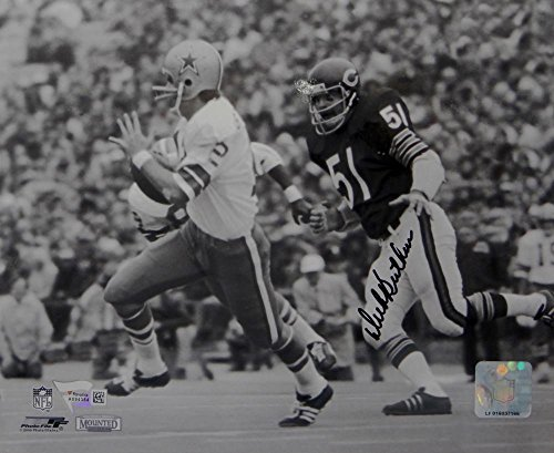 Dick Butkus Signed 8x10 Bears Against Cowboys BW PF Photo- Fanatics Auth Black Dick Butkus Signed Photo