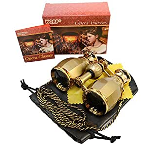 HQRP 4 x 30 Opera Glasses Antique Style Golden with Golden Trim w/ Necklace Chain 4x Extra High Magnification plus Coaster