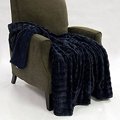 "Home Soft Things Fulton Faux Fur Throw Blanket, 50"" x 60"", Mood Indigo - Standard 50"" x 60"" Throw Blanket Size Brilliant Fulton pattern design with Mini Sherpa Backing Perfect for Home Decoration use with Super Soft Texture - blankets-throws, bedroom-sheets-comforters, bedroom - 51PUVY4ElpL. SS400  -"