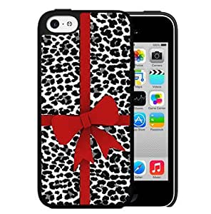 Black And White Leopard Print With A Red Bow Hard Snap On Cell Phone Case Cover (iPhone 5c)
