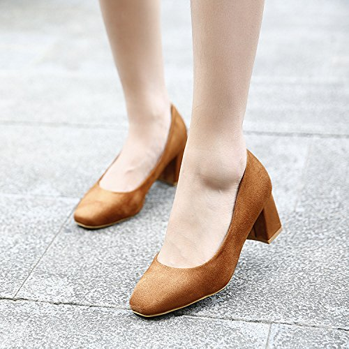 High Shoes Square Heeled Heeled Thirty With Shoes Shoes Merchandiser KPHY six Thick Shoes High Leisure Suede qfg4wFz