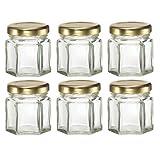 Mini Hexagon Glass Jars for Jam, Honey, Wedding Favors, Shower Favors, Baby Foods, DIY Magnetic Spice Jars (6, 1.5 Oz)