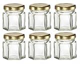 6 Hexagon Glass Jars- with lids- for Candles, Honey, etc. 1-1/2 oz (1.5 oz) HEX