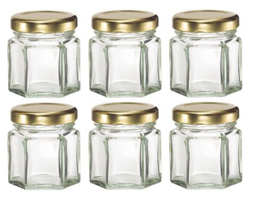 Hexagon Glass Jars lids Candles