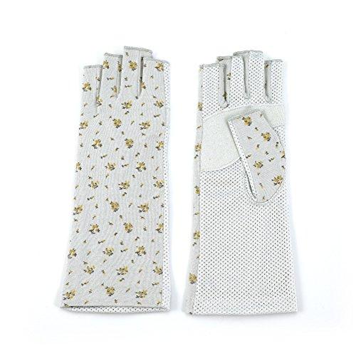 シンプルなベイビー解決する(グローブデポ)GlovesDEPO 「清涼」花柄 すべり止め付きUV手袋 指切り ショートタイプ 全3色 手のひらメッシュ