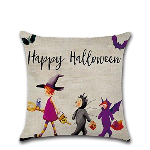 Halloween Pillow Covers, Gotd Halloween Decorations Cute Pumpkin Decorative Vintage Cotton Linen Throw Pillow Case Cushion 43 x 43cm (Multicolor (Pumpkin Halloween Decoration)