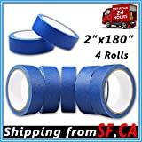 4 Rolls Blue Painters Tape Clean Release Trim Edge Finishing Masking Tape 2 in x 180 ft (2 in x 180 ft)