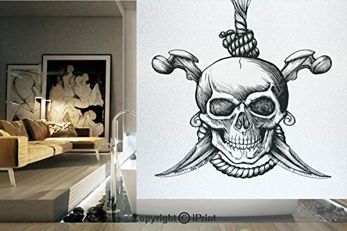 Decorative Privacy Window Film/Jolly Roger Skull with Two Knifes Bones and Hanging Rope Gothic Criminal Halloween Decorative/No-Glue Self Static Cling for Home Bedroom Bathroom Kitchen Office Decor Bl