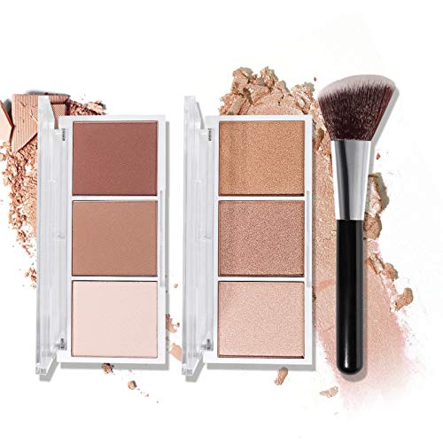 Highlighter & Contour Makeup Palette with Brush, Matte Shimmer Glow Illuminator Powder Perfect For Face Highlight…