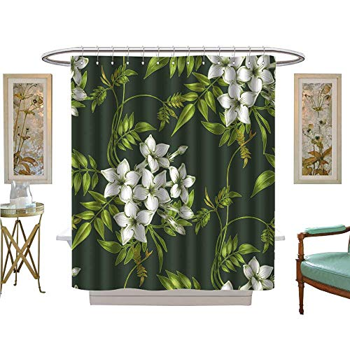 - luvoluxhome Shower Curtain Collection by Vector Background Jasmine Flowers Design for Fabrics Textiles Paper Wallpaper Web Patterned Shower Curtain W54 x L78
