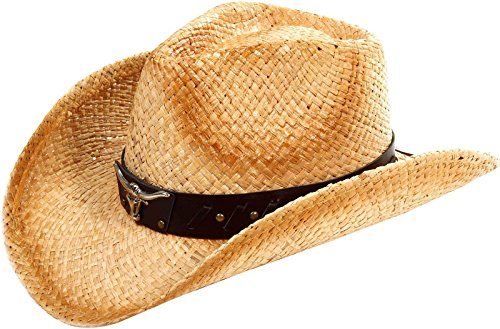 Classic Western Cowboy Straw Hat w/ Leather Band, Brown band