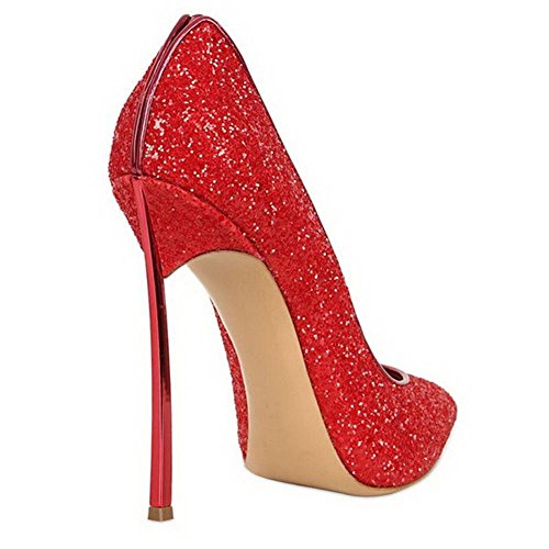 43 EUR39UK8 Intelligent Doigt Talons Taille Sexy Pompes Travail Femmes Haute de 35 NVXIE Pointu Robe Fermé Paillettes Chaussures RED Pied Noir Stylet ZH1pqwx