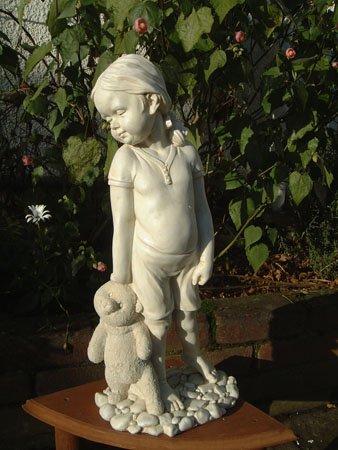 Girl With Teddy Bear Garden Statue / Garden Ornament
