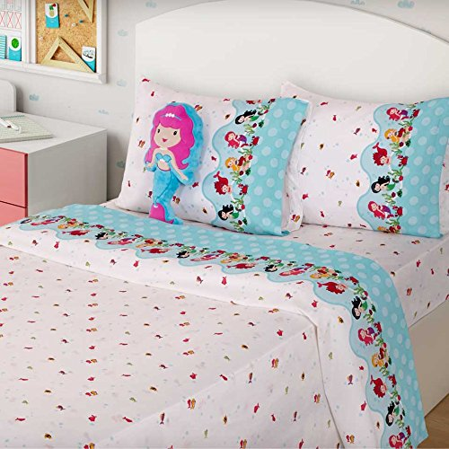 LITTLE MERMAID GIRLS CHIC BEDSPREAD SET,SHEET SET AND WINDOWS PANELS 10 PCS TWIN SIZE by JORGE'S HOME FASHION