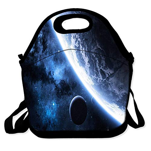 Lunch Bag for Boys Girls Kids Women Insulated Thick Lunch Tote Bags with Shoulder Strap Lunchbox Handbag Food Bento Boxes Container for Work School-Space Shimmer Globe