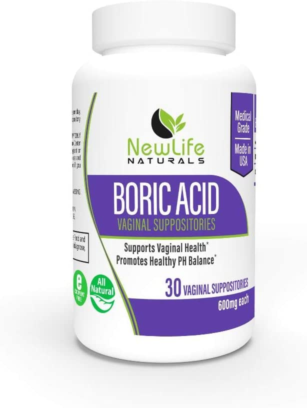 NewLife Naturals - Medical Grade Boric Acid Vaginal Suppositories - 600mg - 100% Pure Womens pH Balance Pills - Yeast Infection & Bacterial Vaginosis Treatment - 30 Capsules: Made in USA