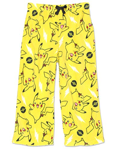 Pokemon Pikachu Boys Plush Fleece Lounge Pajama Pants (8, Yellow) -