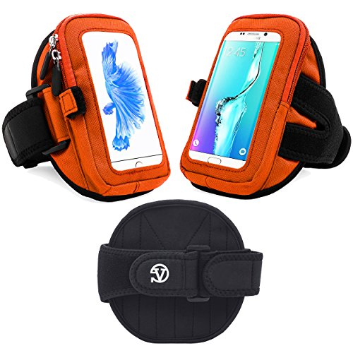 Orange Riding Arm Band Holder for HTC Ultra 5.7in / 10 EVO / 5.5in / Bolt / Desire 10 Lifestyle / 830 / 825 / 826 / 820 / 816 + Bluetooth Selfie Stick And Mini Tripod 2.0 outlet